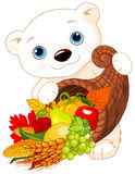 Polar Bear Holds Cornucopia Stock Photos