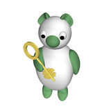 The polar bear holds in a hand a flat key, 3d Stock Images
