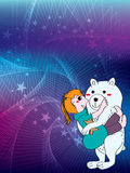 Polar bear hug girl Stock Image