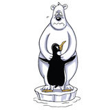 Polar Bear Hugging Penguin Cartoon, Sad Polar Scene. Vector Illustration Stock Image