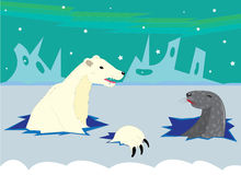 The polar bear hunts on a seal. Royalty Free Stock Images