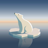 Polar bear on ice. Illustration of polar bear on ice floe. Possible result of global warming. All objects are grouped and easy to edit or separate vector illustration
