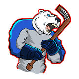 Polar bear ice hockey mascot Stock Photo