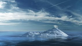 Polar bear on the ice island. Arctic scenery with ice island and polar bear stock illustration