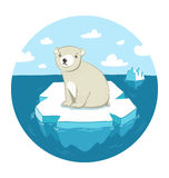 Polar bear on ice. Sad polar bear sitting on ice floe vector illustration
