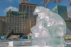 Polar bear ice sculpture  at Ottawa`s Winterlude Royalty Free Stock Images