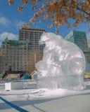 Polar bear ice sculpture  at Ottawa`s Winterlude Stock Image