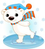 Polar bear on ice skates. Illustration of cute polar bear on ice skates royalty free illustration