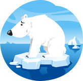 Polar bear on ice. Polar Bear Standing Worried over climate change On Ice Vector Illustration Cartoon stock illustration