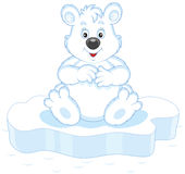 Polar bear on ice. Vector illustration of a white bear sitting on an ice floe royalty free illustration