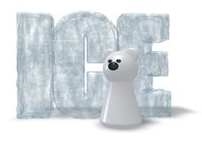 Polar bear ice. Polar bear and the word ice on white background - 3d illustration vector illustration