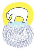 Polar bear on iceberg. Polar bear standing on small iceberg staring at reflection Stock Photo
