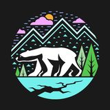 Polar bear on Iceberg abstract circle style vector design royalty free illustration