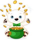 Polar Bear juggles gold coins Stock Photo