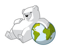 Polar bear leaning on the globe. Illustration of Polar bear leaning on the globe Royalty Free Stock Images