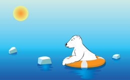 Polar Bear on a Lifebuoy Royalty Free Stock Images