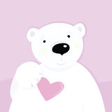 Polar bear with love heart Stock Image
