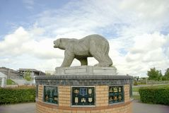 Polar Bear Memorial. This bear was the first memorial in The National Memorial Arboretum. It is placed by The Polar Bear Association and is a tribute to the 49th Royalty Free Stock Image