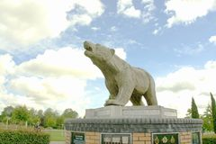 Polar Bear Memorial. This bear was the first memorial in The National Memorial Arboretum. It is placed by The Polar Bear Association and is a tribute to the 49th Royalty Free Stock Photography