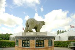 Polar Bear Memorial. This bear was the first memorial in The National Memorial Arboretum. It is placed by The Polar Bear Association and is a tribute to the 49th Royalty Free Stock Photo