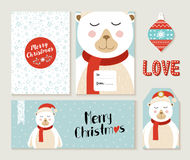 Polar Bear Merry Christmas greeting card set Stock Photo