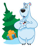 Polar Bear mom and baby, new year, christmas Royalty Free Stock Photo