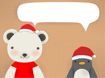 Polar bear & Penguin - mery xmas greeting card Royalty Free Stock Images