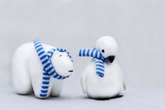 Polar Bear and Penguin Royalty Free Stock Images