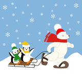 Polar bear and penguins. On the sleigh illustration on the blue background. Vector illustration Royalty Free Stock Photo