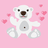 Polar bear with pink hearts Royalty Free Stock Photos
