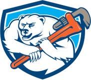 Polar Bear Plumber Monkey Wrench Shield Cartoon Royalty Free Stock Photos
