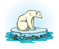 Polar bear and polluted sea Royalty Free Stock Photography