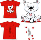 Polar Bear printed on red shirt - vector Stock Photos