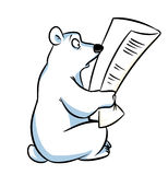 Polar bear is reading a newspaper Stock Images