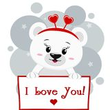 Polar bear with a red rim of hearts holding a plate in the paws, in the style of cartoons. A cute polar bear with a rim of hearts holds a sign in his paws, the Stock Illustration