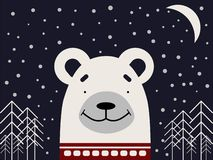 A polar bear in a red sweater on a dark background with stars and trees. vector illustration