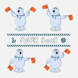 Polar bear-sailors signals semaphore flags. Set. royalty free illustration
