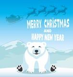 Polar bear and Santa Claus. Royalty Free Stock Photography