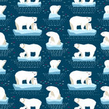Polar bear seamless pattern. Vector seamless pattern polar bears on isberg and dot-dash in dark blue background Stock Photos
