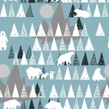 Polar bear seamless pattern. winter wild nature background Royalty Free Stock Image