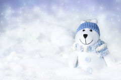 Polar bear in snow. Polar bear toy in snow Stock Photos