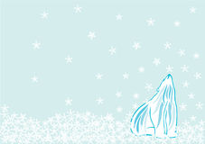 Polar bear in Snow. A polar bear raised its head waiting for the snow flake to fall stock illustration
