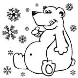 Polar bear and snowflakes Royalty Free Stock Photography