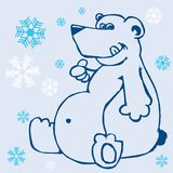 Polar bear and snowflakes on blue Stock Image