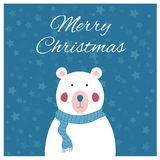 Polar bear and starry sky. A cute Christmas or New Year card Royalty Free Stock Image