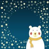 Polar bear and starry sky. A cute Christmas or New Year card with a place for your text. Wishing good night Royalty Free Stock Photography