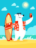Polar bear take selfie at the beach Royalty Free Stock Photography