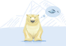 Polar bear think about fish vector illustration Stock Photography