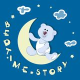 Polar bear-toddler. BEDTIME STORY. Emblem, banner, poster with a polar bear. Design for printing on fabric or paper. Illustration for children`s book in Royalty Free Stock Images