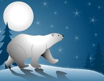 Polar Bear Walking Moonlight. A clip art illustration featuring a  polar bear walking in the snow with shadows, moonlight and tree in background Stock Photography